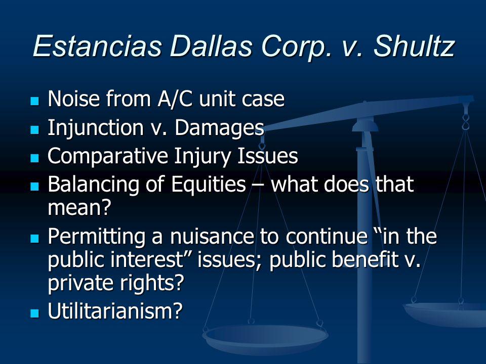 Estancias Dallas Corp. v. Shultz Noise from A/C unit case Noise from A/C unit case Injunction v. Damages Injunction v. Damages Comparative Injury Issu