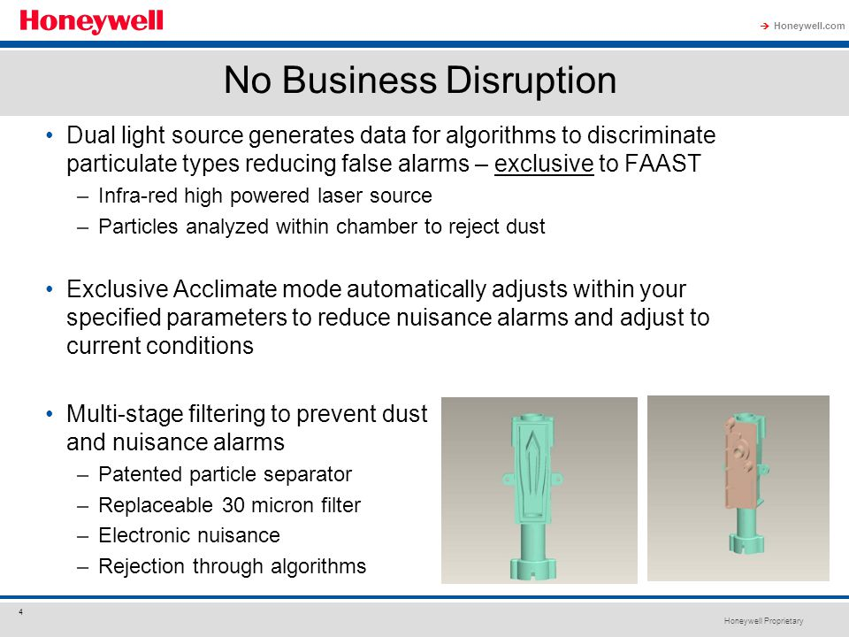 Honeywell Proprietary Honeywell.com  4 No Business Disruption Dual light source generates data for algorithms to discriminate particulate types reduc