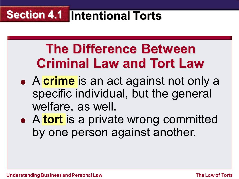 Understanding Business and Personal Law Intentional Torts Section 4.1 The Law of Torts A crime is an act against not only a specific individual, but the general welfare, as well.