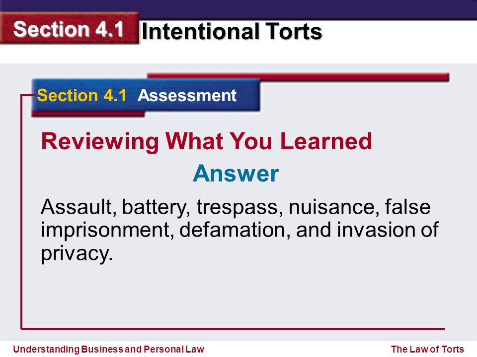 Understanding Business and Personal Law Intentional Torts Section 4.1 The Law of Torts Reviewing What You Learned Assault, battery, trespass, nuisance, false imprisonment, defamation, and invasion of privacy.