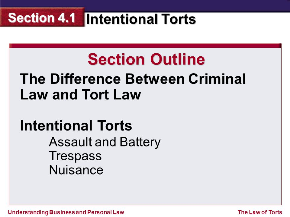Understanding Business and Personal Law Intentional Torts Section 4.1 The Law of Torts The Difference Between Criminal Law and Tort Law Intentional Torts Assault and Battery Trespass Nuisance Section Outline