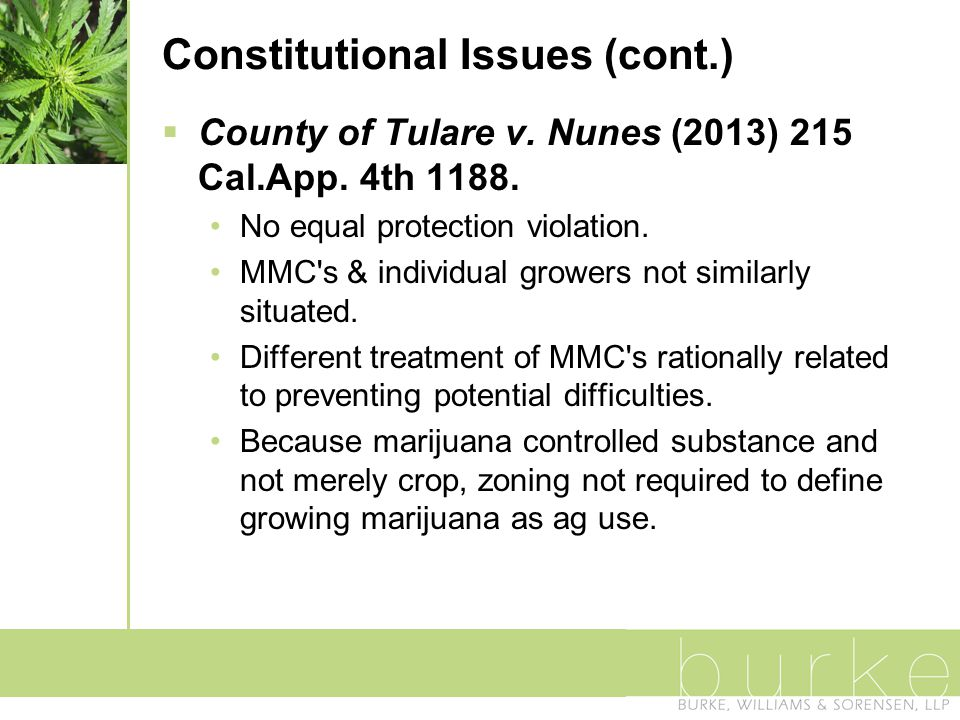 Constitutional Issues (cont.)  County of Tulare v.