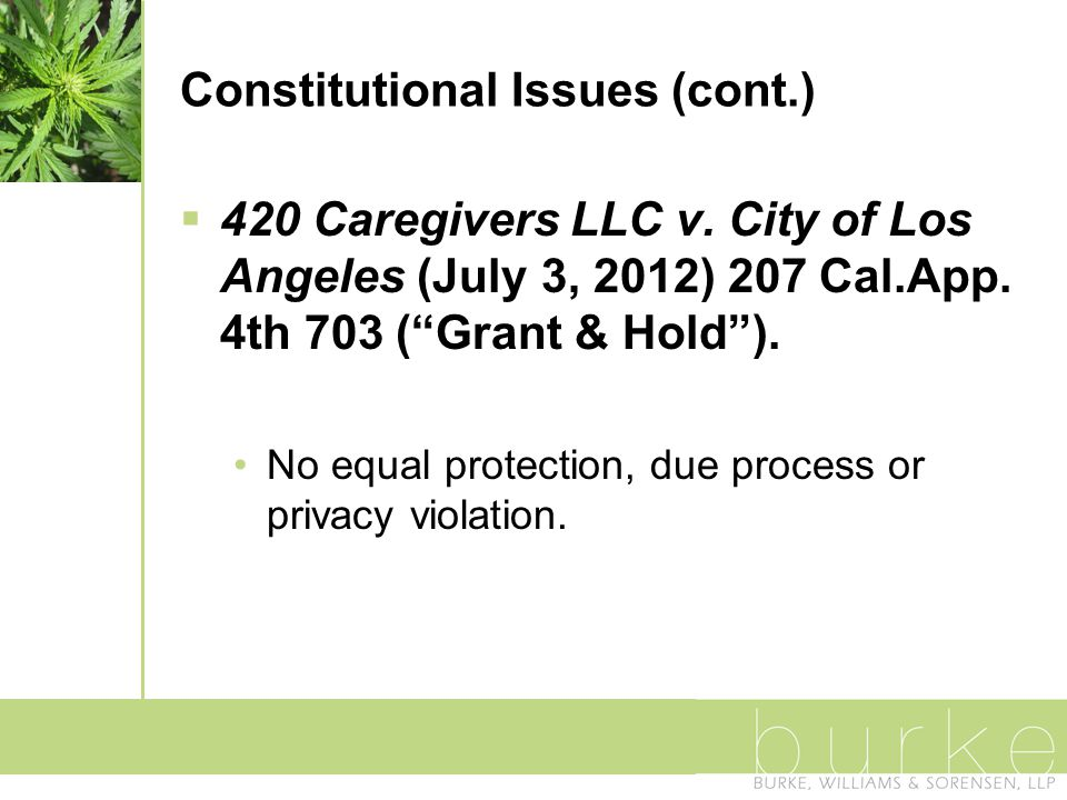 Constitutional Issues (cont.)  420 Caregivers LLC v.