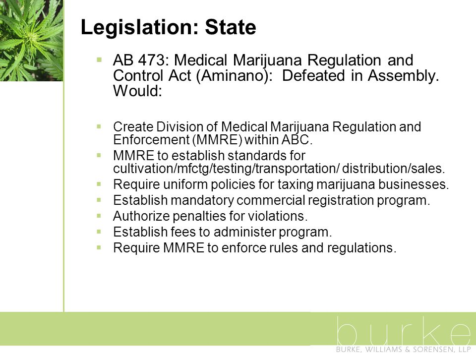 Legislation: State  AB 473: Medical Marijuana Regulation and Control Act (Aminano): Defeated in Assembly.