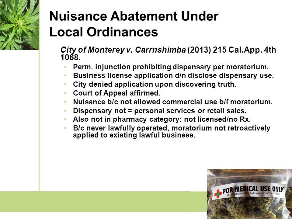 Nuisance Abatement Under Local Ordinances City of Monterey v.
