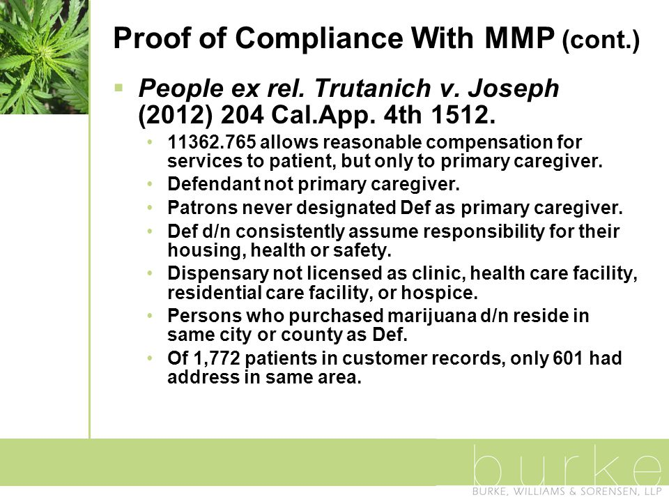 Proof of Compliance With MMP (cont.)  People ex rel.