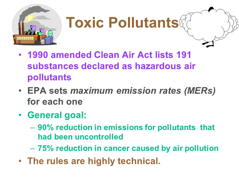 Toxic Pollutants 1990 amended Clean Air Act lists 191 substances declared as hazardous air pollutants EPA sets maximum emission rates (MERs) for each