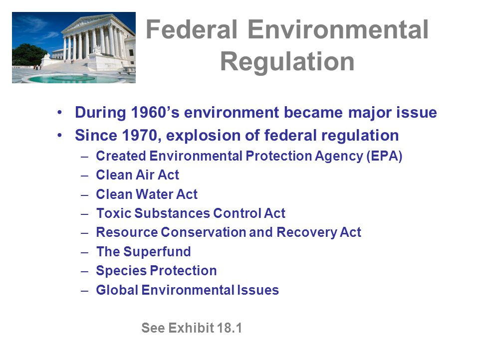 Federal Environmental Regulation During 1960's environment became major issue Since 1970, explosion of federal regulation –Created Environmental Prote