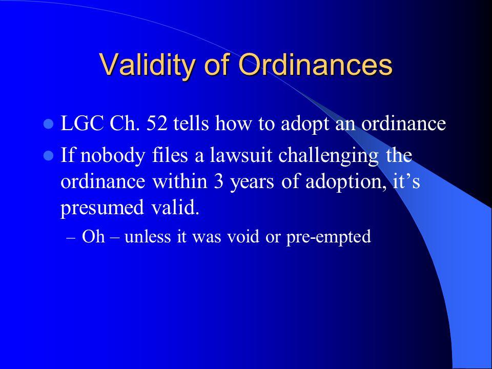 Validity of Ordinances LGC Ch.