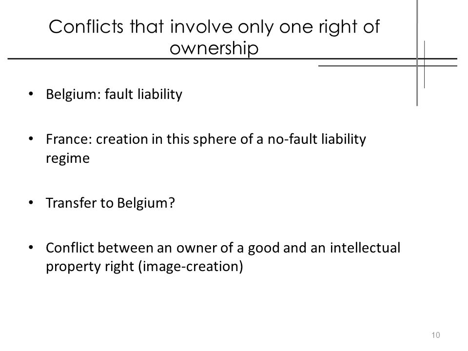 Conflicts that involve only one right of ownership Belgium: fault liability France: creation in this sphere of a no-fault liability regime Transfer to