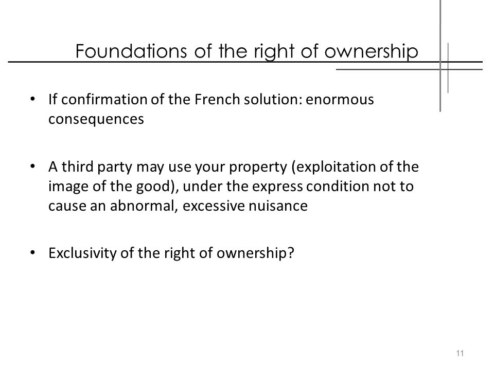 Foundations of the right of ownership If confirmation of the French solution: enormous consequences A third party may use your property (exploitation
