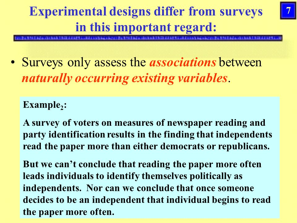 7 Experimental designs differ from surveys in this important regard: Surveys only assess the associations between naturally occurring existing variables.