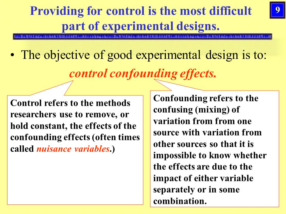 29 Threats to External Experimental Validity Interaction of test and experimental variables (also called pretest sensitization) –This threat occurs when the pre-testing of subjects makes them more (or less) sensitive to the experimental variable.