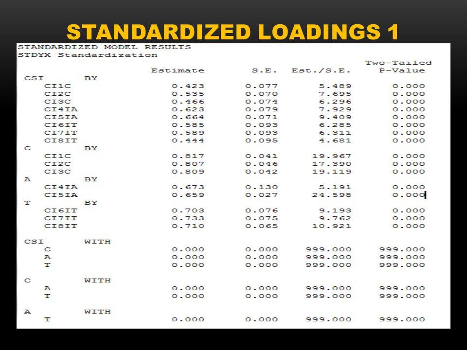 STANDARDIZED LOADINGS 1