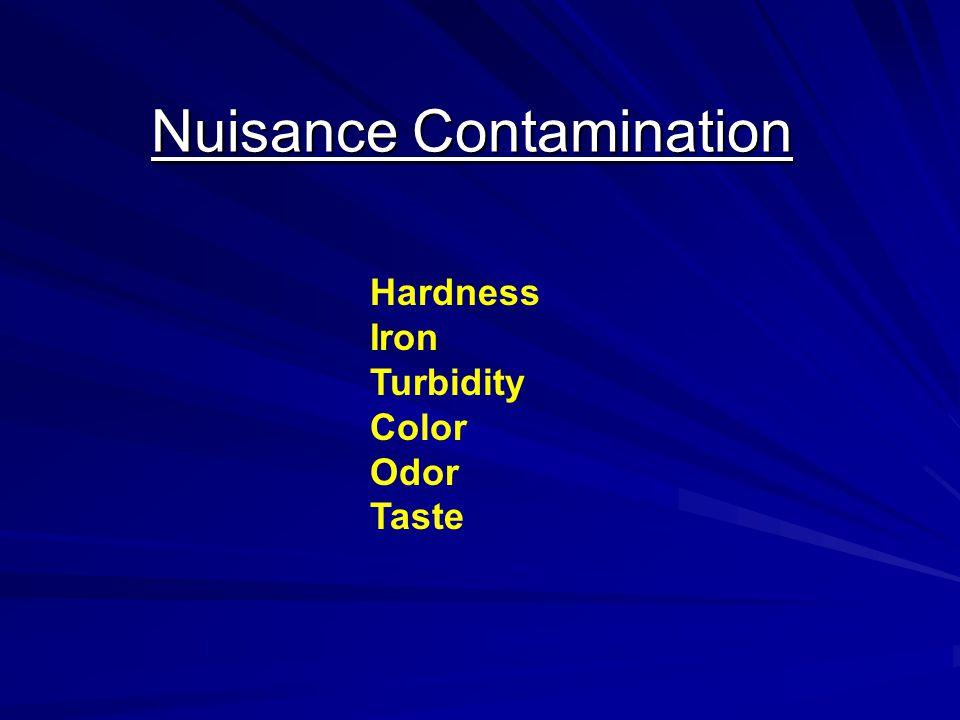 Nuisance Contamination Hardness Iron Turbidity Color Odor Taste