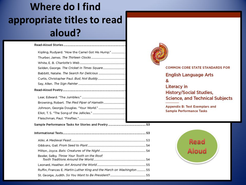 Where do I find appropriate titles to read aloud?