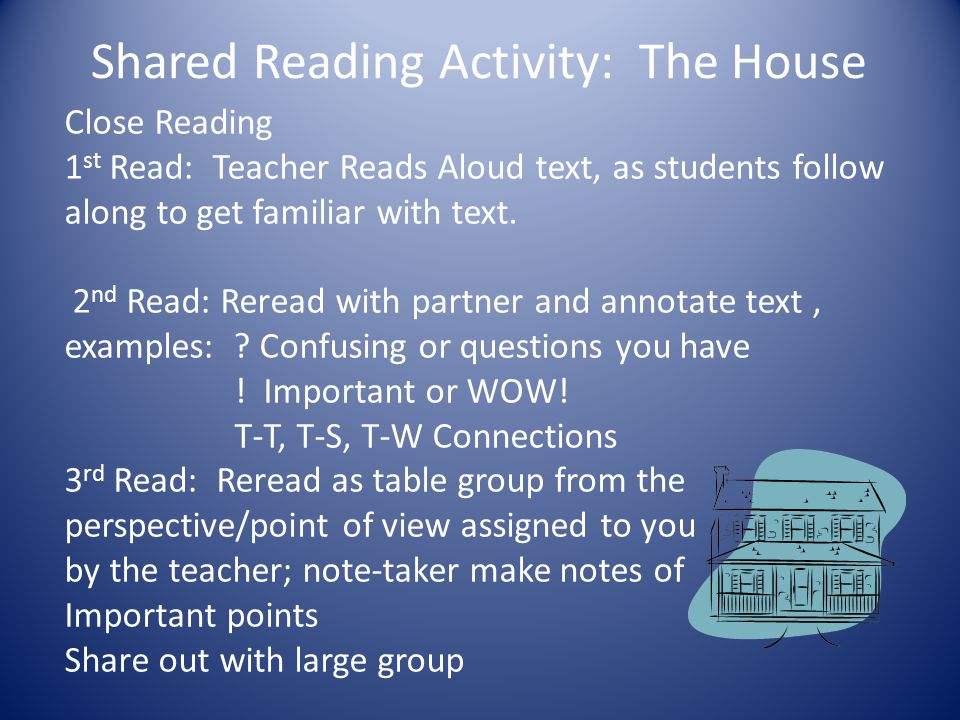 Shared Reading Activity: The House Close Reading 1 st Read: Teacher Reads Aloud text, as students follow along to get familiar with text. 2 nd Read: R