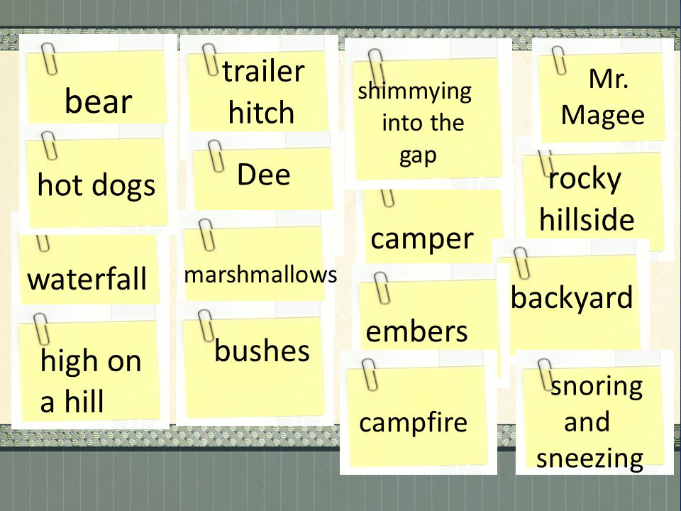 . Write the following words/phrases on sticky-notes: bear trailer hitch Dee rocky hillside waterfall marshmallows camper backyard high on a hill bushe