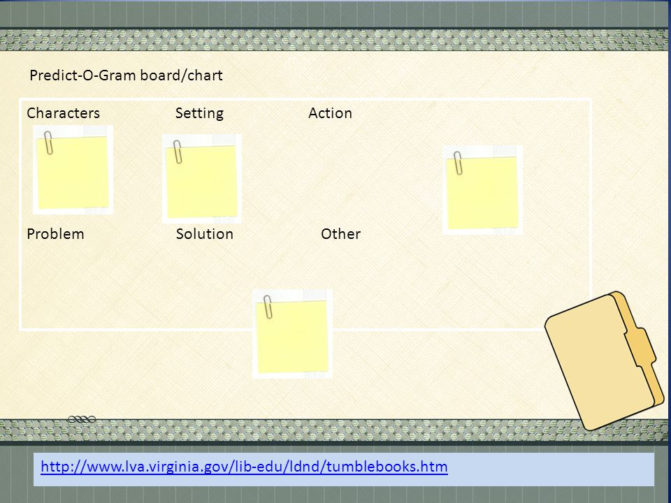 . Predict-O-Gram board/chart Characters Setting Action Problem Solution Other http://www.lva.virginia.gov/lib-edu/ldnd/tumblebooks.htm