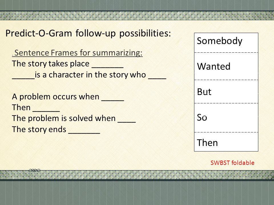 . Sentence Frames for summarizing: The story takes place _______ _____is a character in the story who ____ A problem occurs when _____ Then ______ The