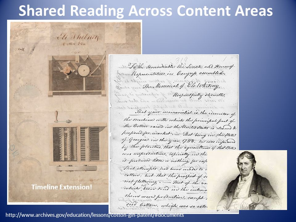 Shared Reading Across Content Areas http://www.archives.gov/education/lessons/cotton-gin-patent/#documents Timeline Extension!