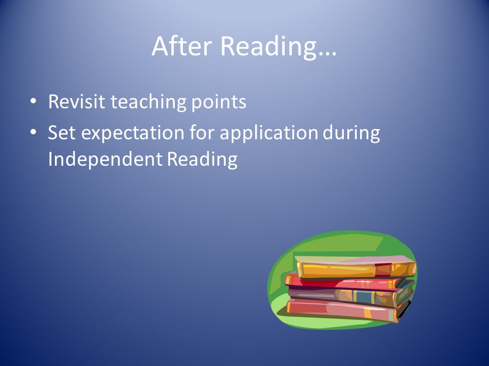 After Reading… Revisit teaching points Set expectation for application during Independent Reading