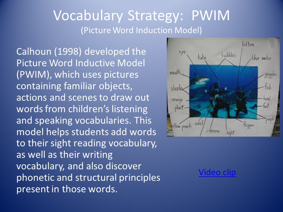 Vocabulary Strategy: PWIM (Picture Word Induction Model) Calhoun (1998) developed the Picture Word Inductive Model (PWIM), which uses pictures contain
