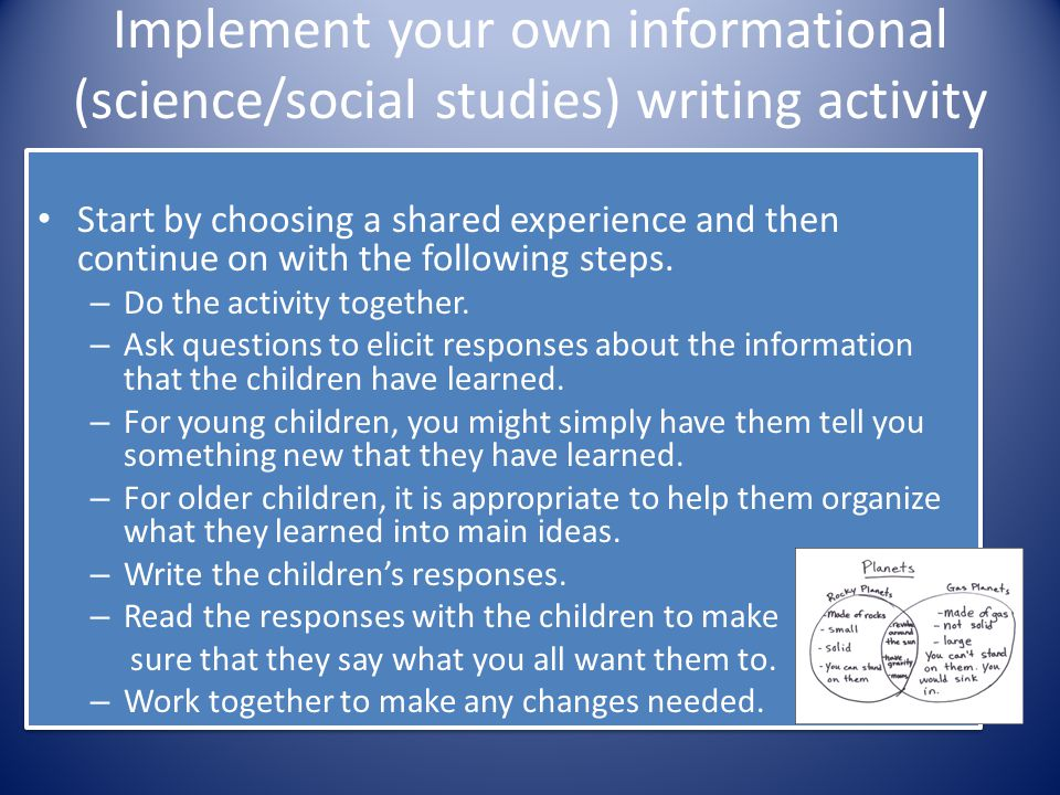 Implement your own informational (science/social studies) writing activity Start by choosing a shared experience and then continue on with the followi