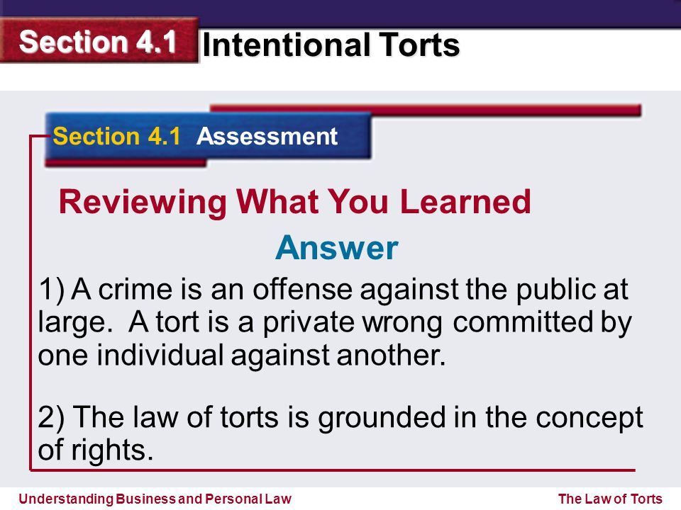 Understanding Business and Personal Law Intentional Torts Section 4.1 The Law of Torts Reviewing What You Learned 1) A crime is an offense against the