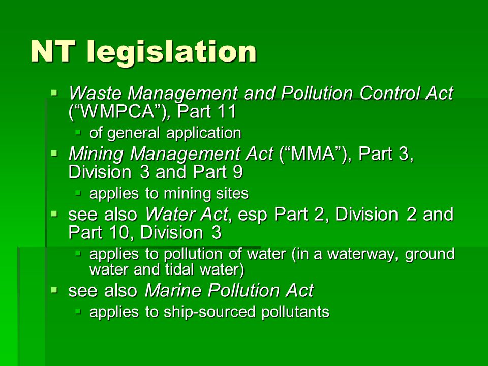 MMA – Environmental harm offences 2 nd element: level of harm serious environmental harm : environmental harm that is more serious than material environmental harm, including harm that: serious environmental harm : environmental harm that is more serious than material environmental harm, including harm that: (a) is irreversible or otherwise of a high impact or on a wide scale; (a) is irreversible or otherwise of a high impact or on a wide scale; (b) damages an aspect of the environment that is of a high conservation value, high cultural value or high community value or is of special significance; (b) damages an aspect of the environment that is of a high conservation value, high cultural value or high community value or is of special significance; (c) results or is likely to result in more than $50,000 being spent on action to prevent or minimise the harm or rehabilitate the environment; or (c) results or is likely to result in more than $50,000 being spent on action to prevent or minimise the harm or rehabilitate the environment; or (d) results in actual or potential loss or damage to the value of more than $50,000 (d) results in actual or potential loss or damage to the value of more than $50,000