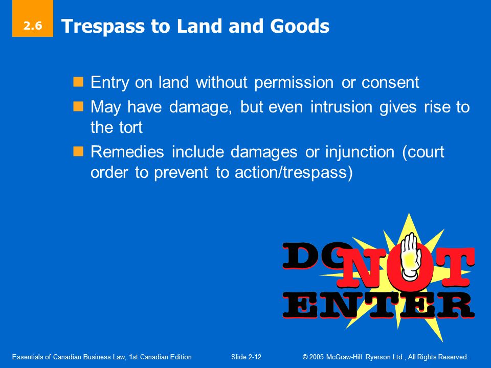 Essentials of Canadian Business Law, 1st Canadian EditionSlide 2-13 © 2005 McGraw-Hill Ryerson Ltd., All Rights Reserved.