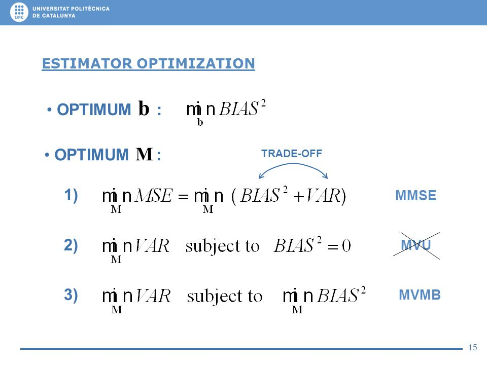 15 ESTIMATOR OPTIMIZATION OPTIMUM b : OPTIMUM M : MVU 1) 2) 3) MVMB MMSE TRADE-OFF