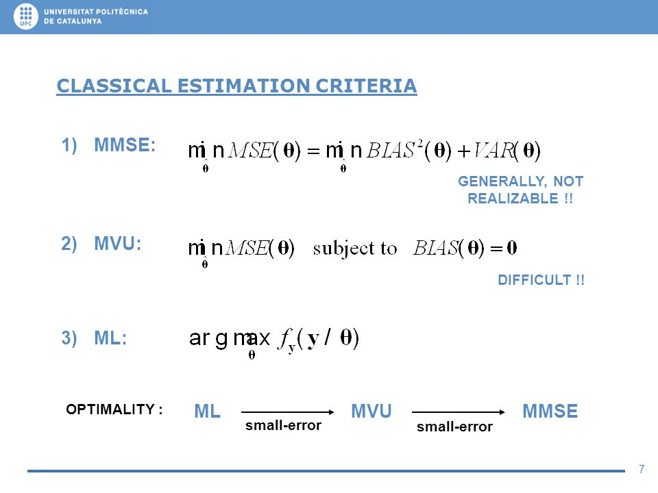 7 CLASSICAL ESTIMATION CRITERIA 1)MMSE: 2)MVU: 3)ML: GENERALLY, NOT REALIZABLE !! ML MVU MMSE small-error OPTIMALITY : DIFFICULT !!