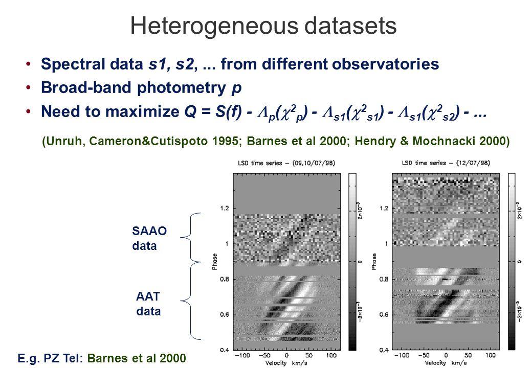 Heterogeneous datasets Spectral data s1, s2,...