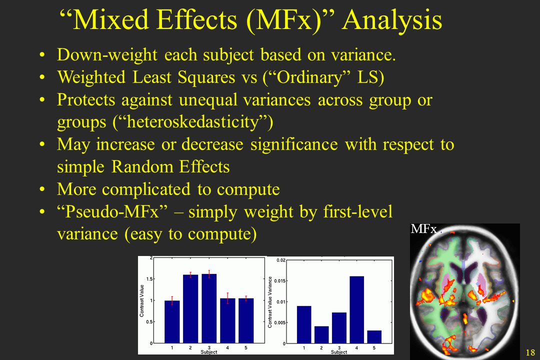 18 Mixed Effects (MFx) Analysis MFx Down-weight each subject based on variance.