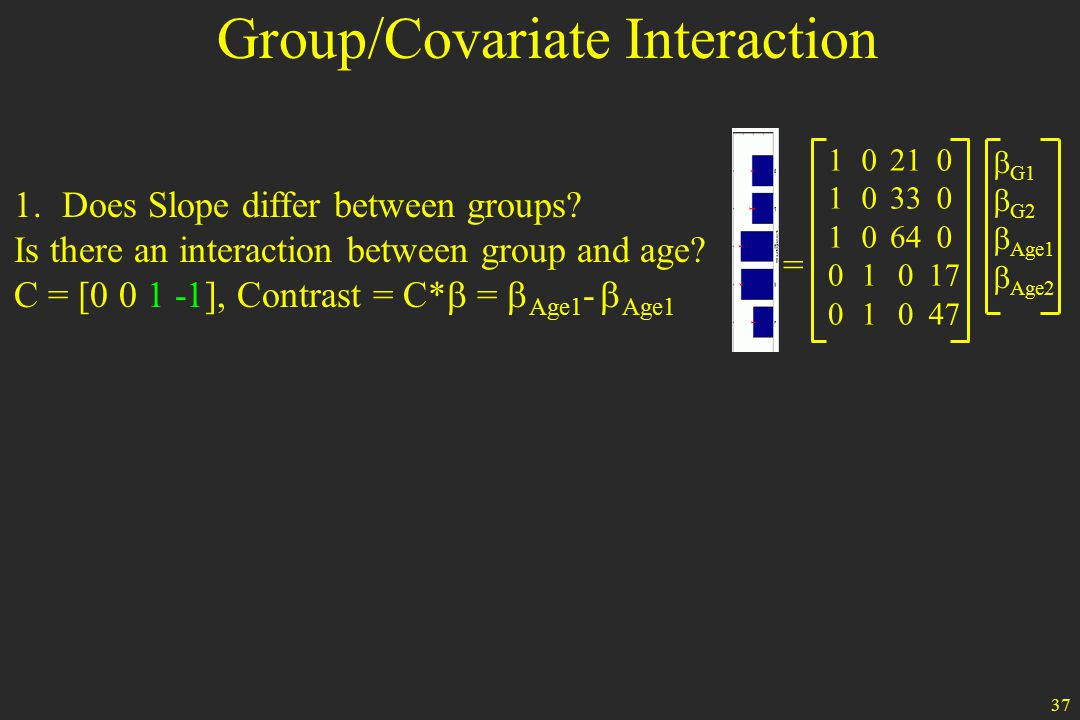 37 1.Does Slope differ between groups. Is there an interaction between group and age.