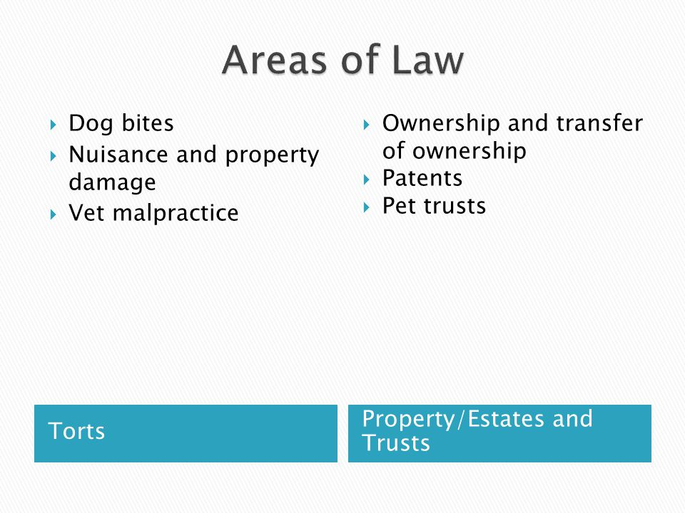 Commercial LawFamily Law  Contract disputes ◦ Buyers/Sellers ◦ Performance Animals  Dealings with vets, kennels, etc (bailment)  Agriculture and food production  Product testing  Pet custody battles  Pets involved in pre- nups and divorce settlements