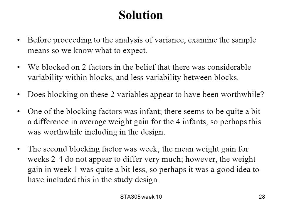 Solution Before proceeding to the analysis of variance, examine the sample means so we know what to expect.