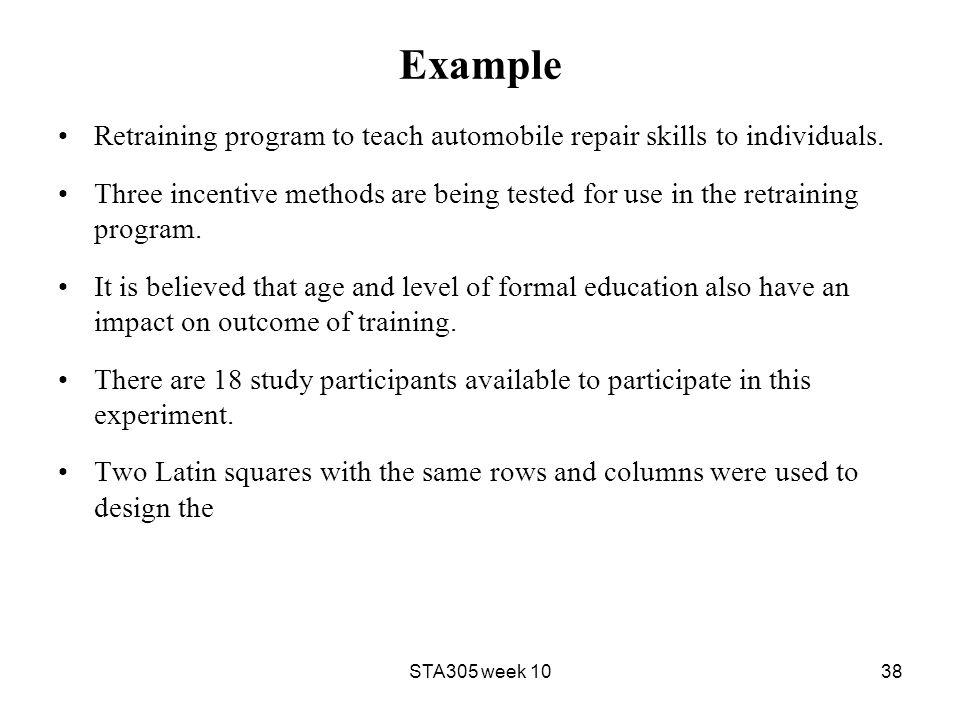 Example Retraining program to teach automobile repair skills to individuals.