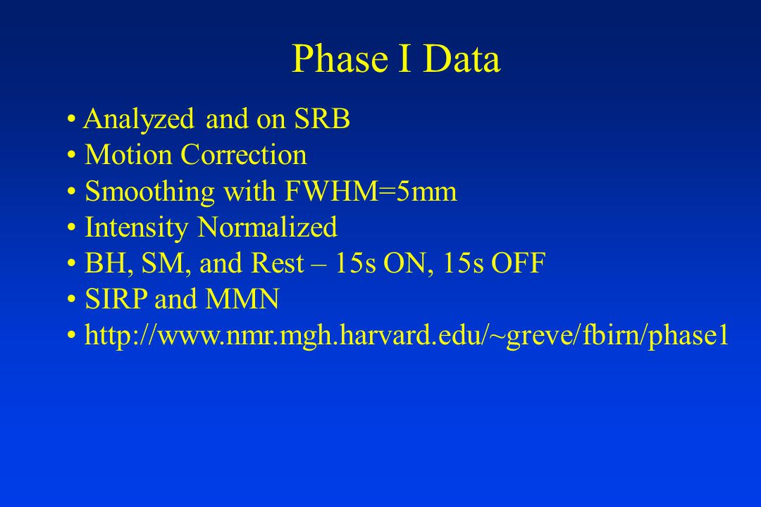 Phase I Data Analyzed and on SRB Motion Correction Smoothing with FWHM=5mm Intensity Normalized BH, SM, and Rest – 15s ON, 15s OFF SIRP and MMN http://www.nmr.mgh.harvard.edu/~greve/fbirn/phase1