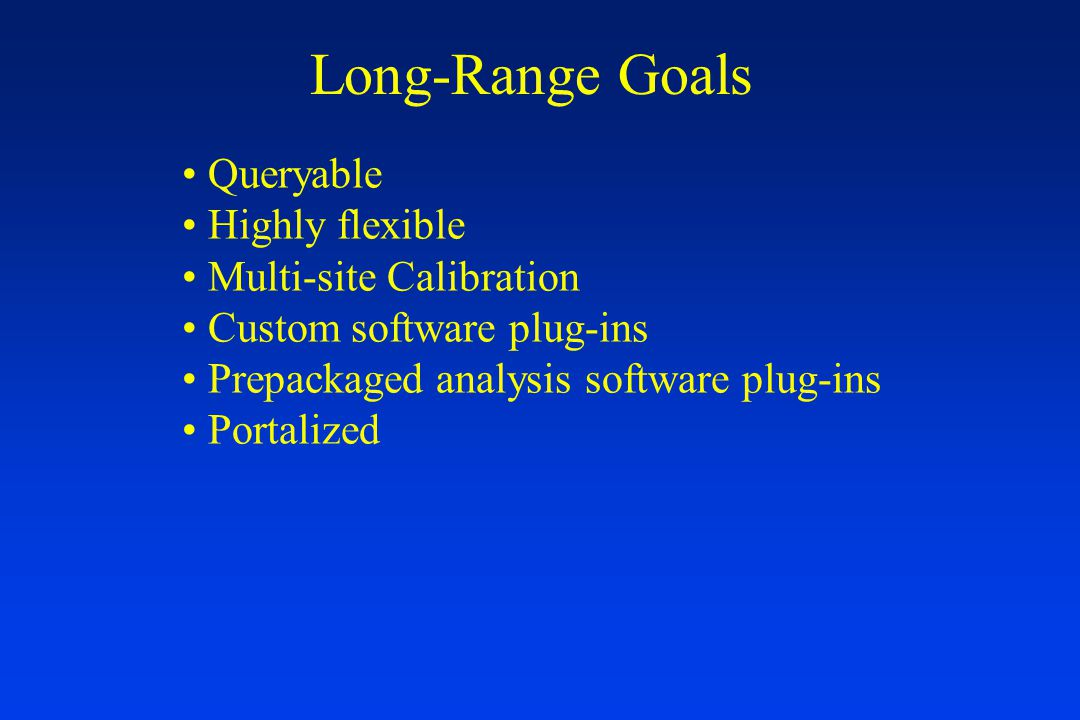 Long-Range Goals Queryable Highly flexible Multi-site Calibration Custom software plug-ins Prepackaged analysis software plug-ins Portalized
