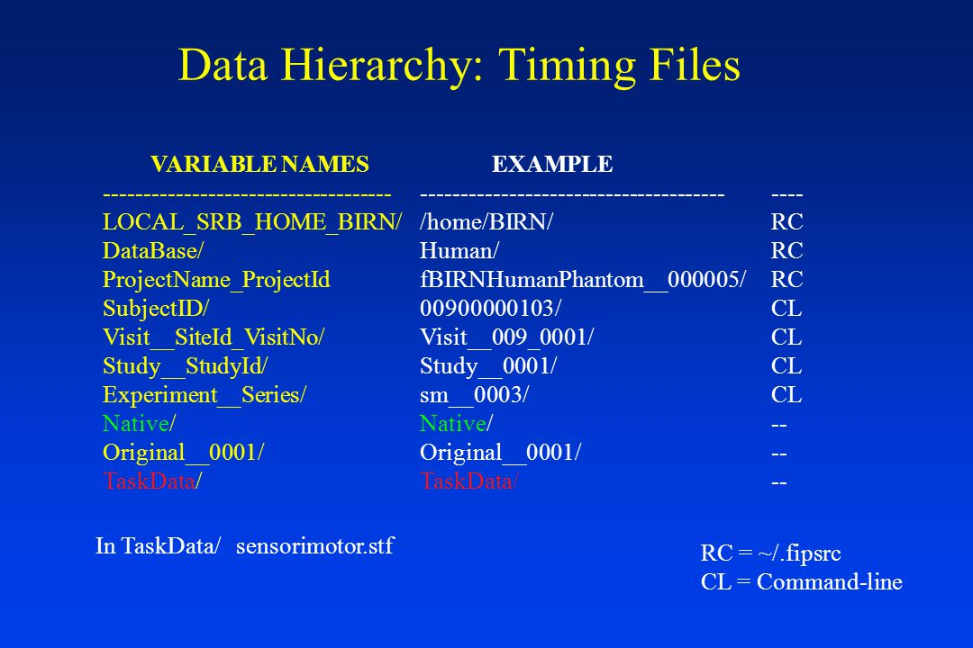 Data Hierarchy: Timing Files VARIABLE NAMES ------------------------------------ LOCAL_SRB_HOME_BIRN/ DataBase/ ProjectName_ProjectId SubjectID/ Visit__SiteId_VisitNo/ Study__StudyId/ Experiment__Series/ Native/ Original__0001/ TaskData/ EXAMPLE -------------------------------------- /home/BIRN/ Human/ fBIRNHumanPhantom__000005/ 00900000103/ Visit__009_0001/ Study__0001/ sm__0003/ Native/ Original__0001/ TaskData/ ---- RC CL -- RC = ~/.fipsrc CL = Command-line In TaskData/ sensorimotor.stf