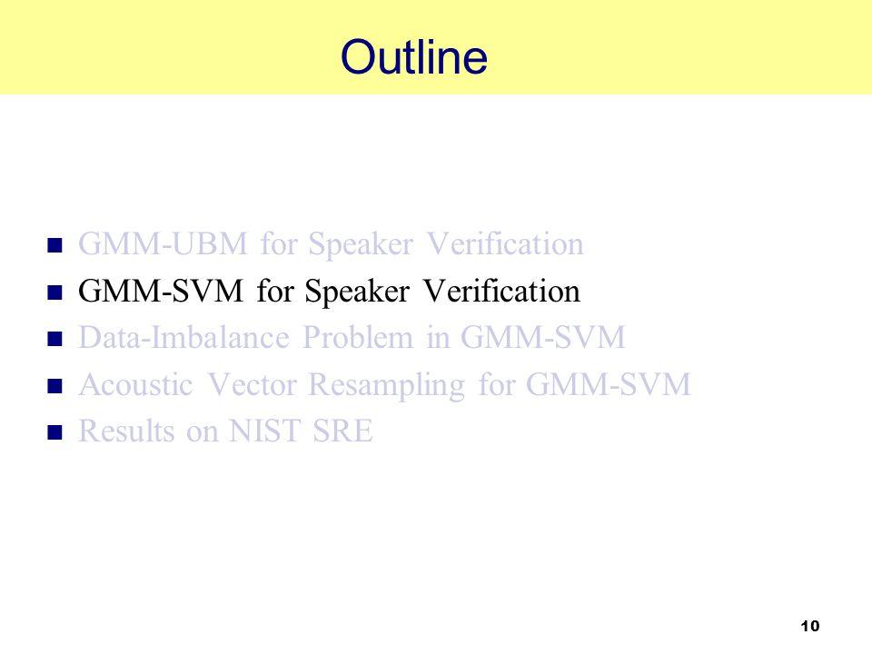 10 Outline GMM-UBM for Speaker Verification GMM-SVM for Speaker Verification Data-Imbalance Problem in GMM-SVM Acoustic Vector Resampling for GMM-SVM