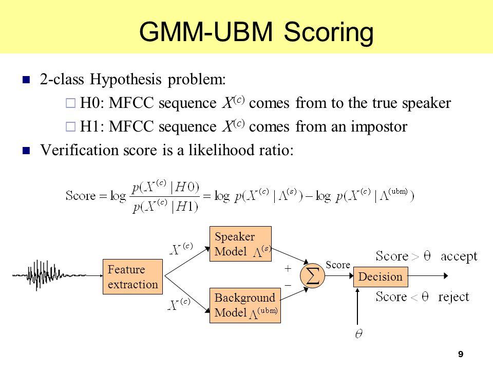 30 Outline GMM-UBM for Speaker Verification GMM-SVM for Speaker Verification Data-Imbalance Problem in GMM-SVM Utterance Partitioning for GMM-SVM Experiments on NIST SRE