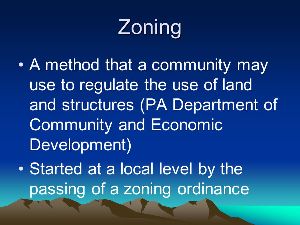 Zoning cont'd.
