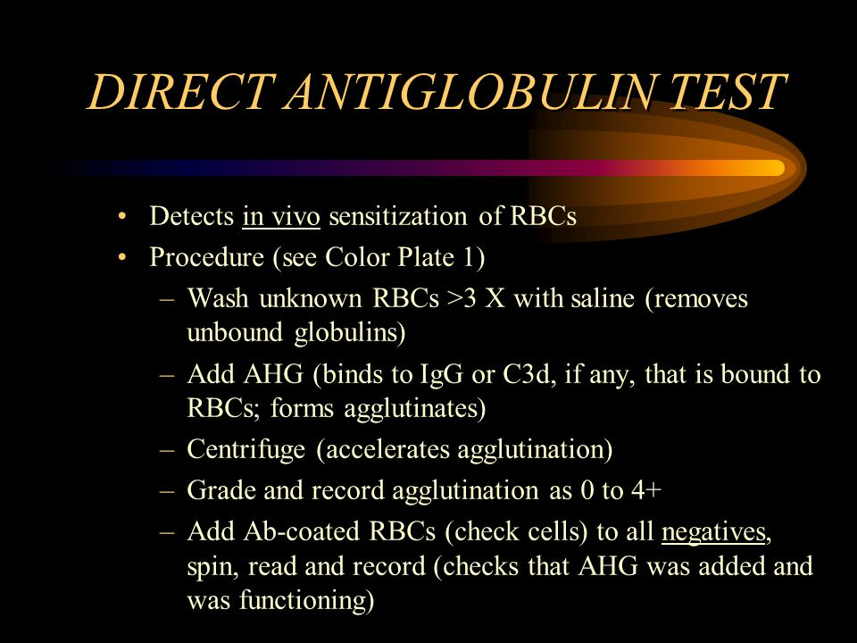 DIRECT ANTIGLOBULIN TEST Detects in vivo sensitization of RBCs Procedure (see Color Plate 1) –Wash unknown RBCs >3 X with saline (removes unbound glob
