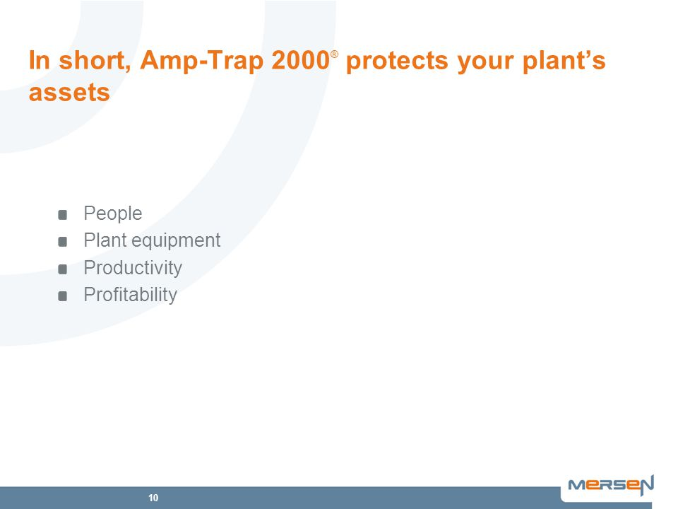 10 In short, Amp-Trap 2000 ® protects your plant's assets People Plant equipment Productivity Profitability