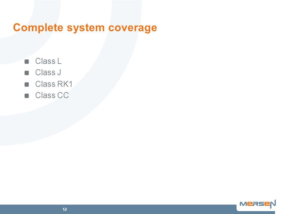 12 Complete system coverage Class L Class J Class RK1 Class CC