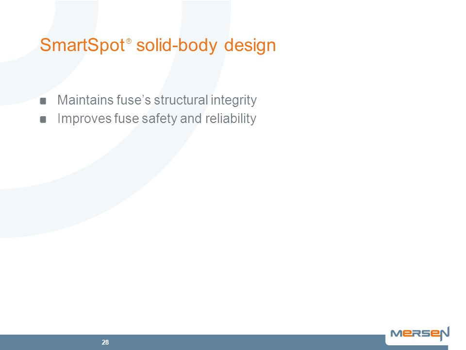 28 SmartSpot ® solid-body design Maintains fuse's structural integrity Improves fuse safety and reliability