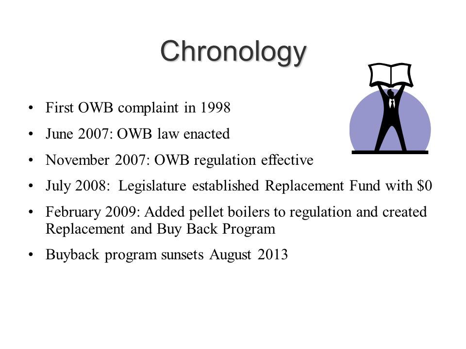 Chronology First OWB complaint in 1998 June 2007: OWB law enacted November 2007: OWB regulation effective July 2008: Legislature established Replacement Fund with $0 February 2009: Added pellet boilers to regulation and created Replacement and Buy Back Program Buyback program sunsets August 2013